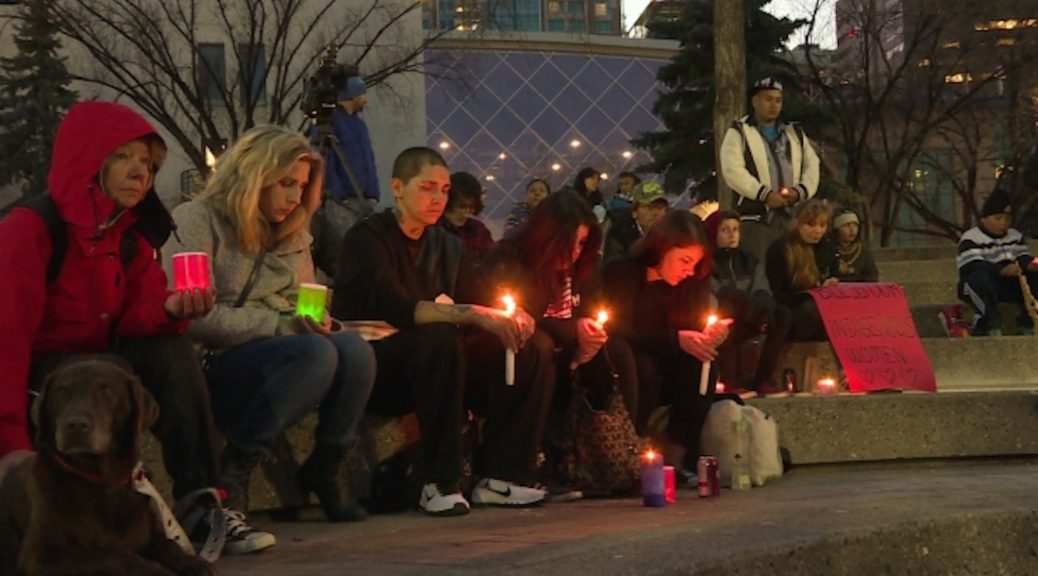 Friends and family of Christa Cachene, who was found dead in a Calgary house in October, hold a vigil in her memory and to protest violence against women. Police believe Cachene died 'as a result of a vicious beating.' (CBC)