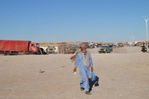 Man crossing main road of the Smara refugee camp