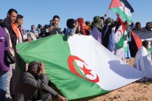 Sahrawis celebrating 40th anniversary of the proclamation of the Sahrawi Arab Democratic Republic on February 26